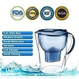 Alkaline Water Pitcher 3.5 Liter, Blue BPA Free,NSF Certified