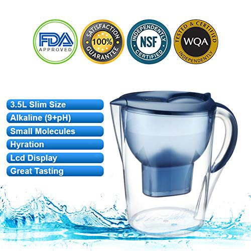 Alkaline Water Pitcher - 3.5 Liters,7 Stage Filteration, Free Filter Included, (Blue)