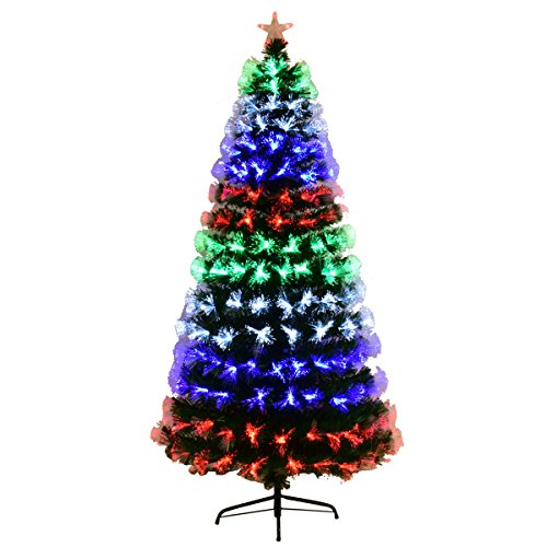 Goplus Pre-Lit Fiber Optic Christmas Tree Artificial Fireworks Spruce Tree w/Multicolor LED Lights, Top Star & Solid Metal Stand (6 ()