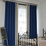 Miss X DIY Full Shading Curtains, 90% Blackout Soundproof Heavy Duty Flax Curtains Privacy Assured Thermal Insulated Window Curtains for Bedroom, Living Room,2 Panels (Blue+Gray, 42' W x 45' L)