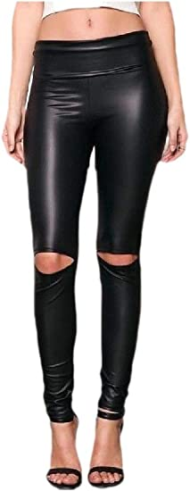 VITryst Women PU Holes Slim Fit Moto Skinny Pencil Pants