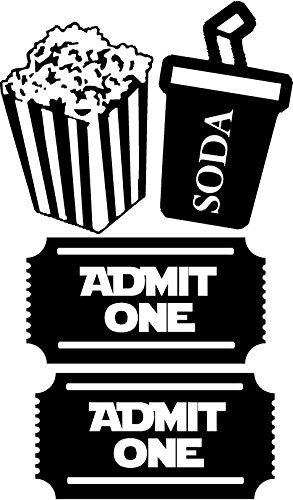 2 Movie Tickets Admit One with Popcorn Box and Soda decals for walls, Walls with Style (Small 15