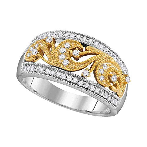 Dazzlingrock Collection 10kt Two-tone Gold Womens Round Diamond 2-tone Filigree Band Ring 1/3 Cttw