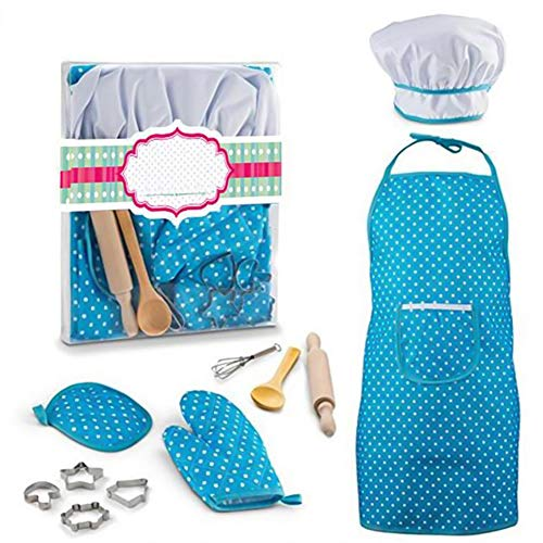 Children Master Chef Set -11 Pcs/set DIY Cooking Baking Suit Dress Up Set (Apron, Gloves, Rolling Pin, Eggbeater,Cake Mould and Hat) Kitchen Role Play Costume for Kids Above Age 3+ (Blue) -