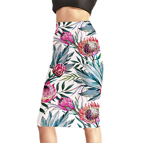 Fanii Quare Women's Elastic Casual Bodycon Print Midi Pencil Skirt Flower Leaf XL