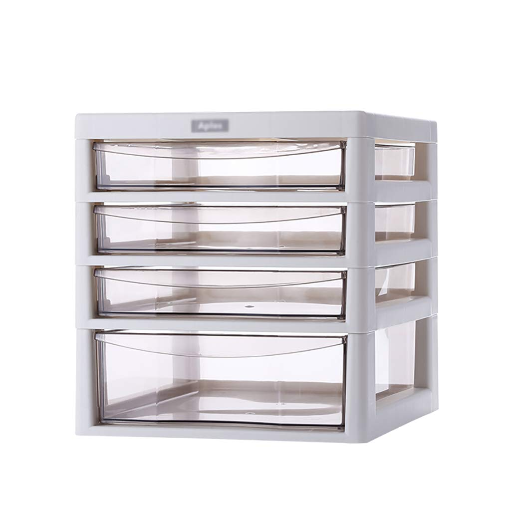 File Cabinet, Plastic Drawer Type Office Storage Data File Box A4 File Cabinet White (Three Layers, Four Layers). (Size : 27 * 34.5 * 29cm) ZJF