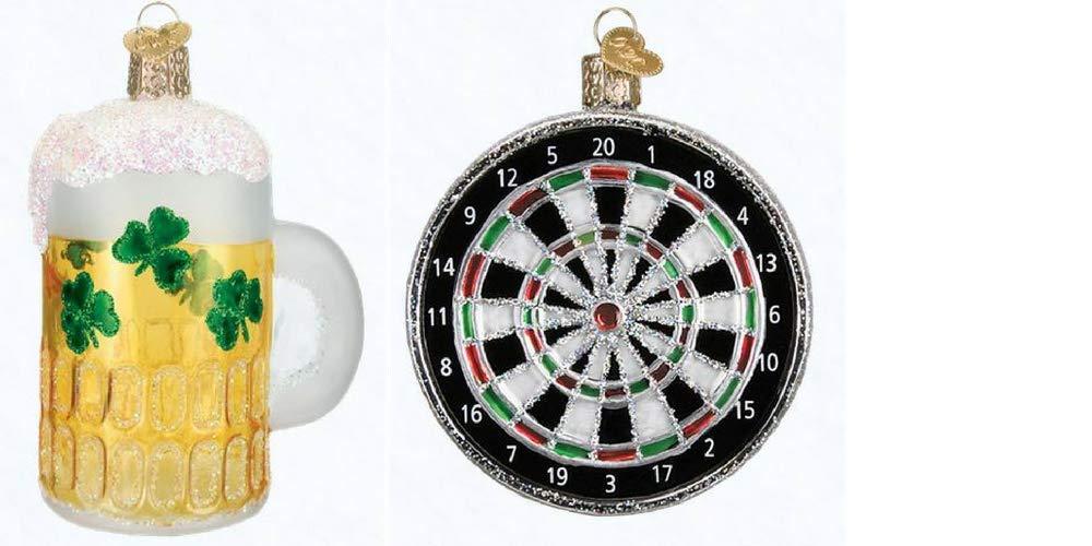 Amazon Com Old World Christmas Dart Board And Irish Beer Mug Set Of