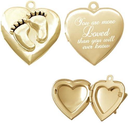 Gold Tone Lamb Silhouette Custom Engraved Baby Feet Heart Locket Necklace