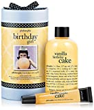every birthday girl wants cake. give her birthday girl, featuring vanilla birthday cake shampoo, shower gel and bubble bath 8 oz. and vanilla birthday cake lip shine .5 oz. philosophy captured the fresh-baked scent in this extra rich and creamy, 3-in...