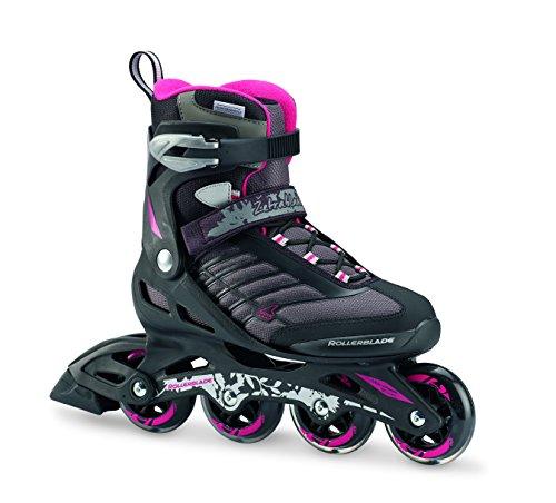 Rollerblade Zetrablade W - Women's Skate - 4x80mm/84A Wheels - SG 5 Performance Bearings - Black/Cherry  - US Women's Size 9