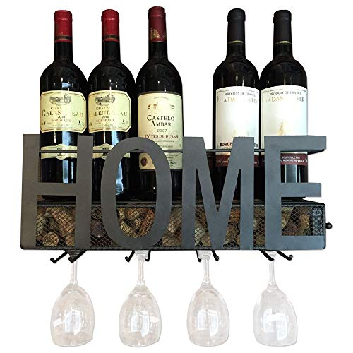Wall Mounted Wine Rack by NVS Industries - Metallic Hanging Rack for Wine - Sturdy & Durable Construction - Holds 5 Bottles & 4 Glasses - Cork Storage Display - Elegant Design (Gift Rack Wine)
