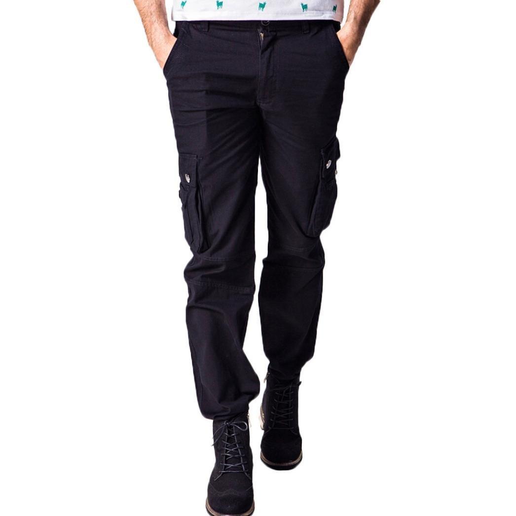 Spbamboo Mens Army Trousers Multi-pocket Zipper Cargo Waist Work Casual Pants