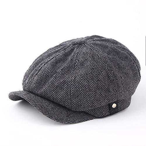 帽子 秋冬メンズ 男性 フラットキャップ,濃い灰色