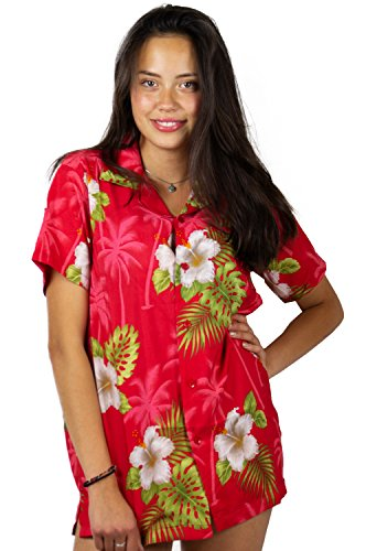 Funky Hawaiian Blouse Shirt, Small Flower, Red, - Flower Womens Red
