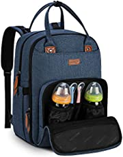 Diaper Bag Backpack for Mom/Dad Travel Backpack Baby Changing Bags with Insulated Pockets, Changing Pad, Stroller Straps