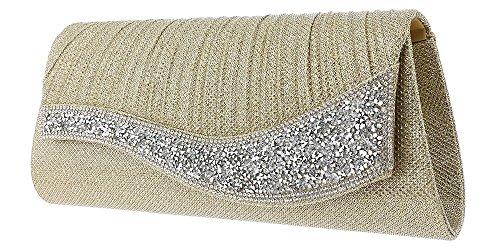 Evening Gold Hotstylezone Party Envelope Wedding Sparkly Diamante Clutch Glitter Womens Bag Prom F7x7RUnP