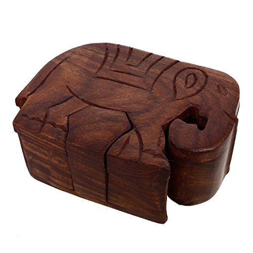 Mystery Box Wooden Elephant Puzzle Toys And Games - Challenging Puzzles Box for Adults | Kids | Storage