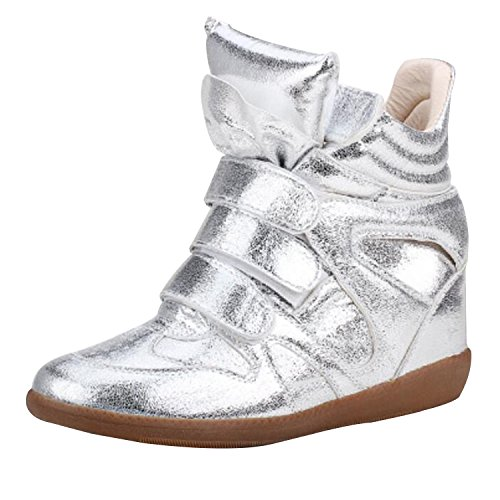 Womens Ladies Faux Leather Ankle High Top Paneled Wedge Trainers Sneakers Shoes
