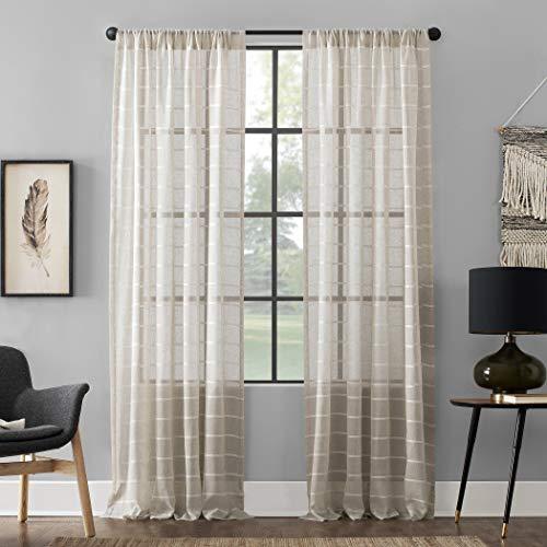 (Clean Window Twill Stripe Allergy/Pet Friendly Anti-Dust Sheer Curtain Panel, 52