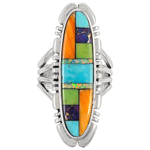 925 Sterling Silver Ring with Genuine Turquoise & Semiprecious Gemstones Size 5 to 12 (7) (Genuine Gemstone Jewelry)