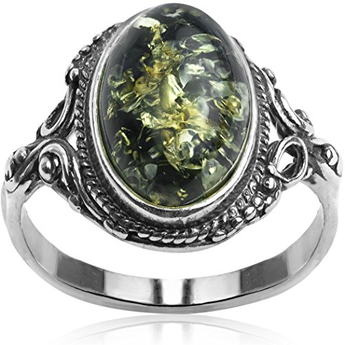 (Sterling Silver Dark Green Amber Oval Ring, Size 11)