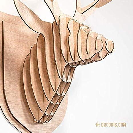 Dise/ño y Decoraci/ón de Pared Madera Cabezas Animales Decoraci/ón Dacoris Lars Animales de Madera Animal Decorativo S DIY Modelo 3D el Ciervo Cabeza de Ciervo Cabeza de Animal