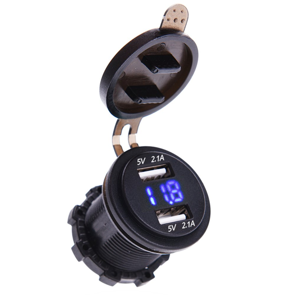 MICTUNING 4.2A Dual USB Charger Port with Blue Led Digital Display Voltmeter 12-24V Universal for Car Boat Motorcycle