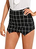 Romwe Women's Mid Waist Slim Fit Overlap Front Plaid Print Mini Skirt Shorts Skort Black M