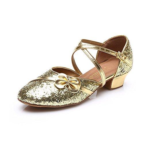 MQ - Zapatillas de danza para niña plateado plata dorado