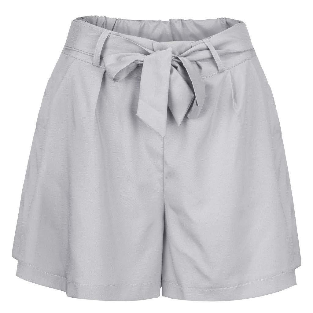 Ningsun Donne Casuale Corto Pantaloni Larghi Vita Elastica Bowknot Pantaloncini Tasche Pant Moda Estivi Tinta Unita Hot Pants da Spiaggia Casual Shorts a Vita Alta Corto Pantaloni