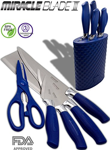 6 Piece Blue Knife Set with Holder Block & Scissors - includes Chef Knife - Carving Knife - Utility Knife - Paring Stainless Steel Knive and Shears with Rubberized Holder Block