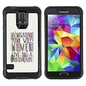 Suave TPU Caso Carcasa de Caucho Funda para Samsung Galaxy S5 SM-G900 / Mind Positive Life Quote / STRONG
