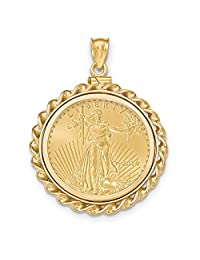 FB Jewels 14K Yellow Gold Twisted Wire Polished Screw Top 1 10AE Bezel with coin