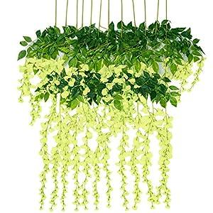Artificial Flowers Wisteria 12 Pcs 3.6feet Garland Vine Silk Hanging Plants for Wedding Arrangements Outdoors Decorations Home Garden Party Decor Simulation Flower (Green) 11