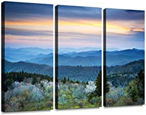 YKing1 Scenic Blue Ridge Parkway Appalachians Smoky Mountains Spring Landscape Wall Art Painting Pictures Print On Canvas Stretched & Framed Artworks Modern Hanging Posters Home Decor 3PANEL