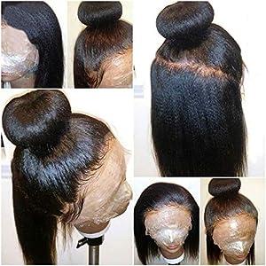 Italian Light Yaki Full Lace Wigs Human Hair for Black Women, Pre Plucked 150 Density Yaki Straight Virgin Full Lace…