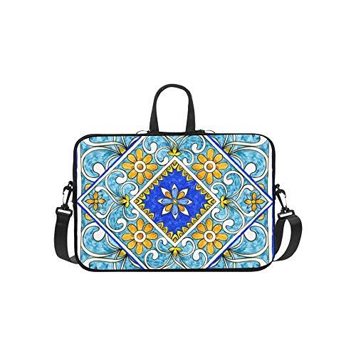 Italian Majolica Tiles Floral Ornament Briefcase Laptop Bag Messenger Shoulder Work Bag Crossbody Handbag for Business Travelling