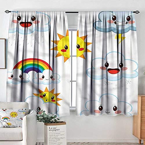 "Kawaii,Boy's Iving Room Curtain Sun Rain and Rainbow Cartoon 104""x108"" Indo Treatments for Short Indo from Sanring"