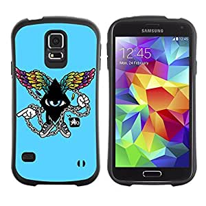 Hybrid Anti-Shock Bumper Case for Samsung Galaxy S5 / Cool Abstract Wings