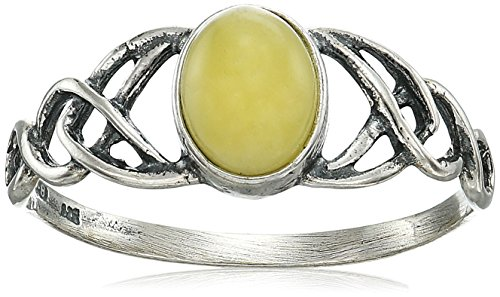 Amber Sterling Silver Celtic Love Knots Ring