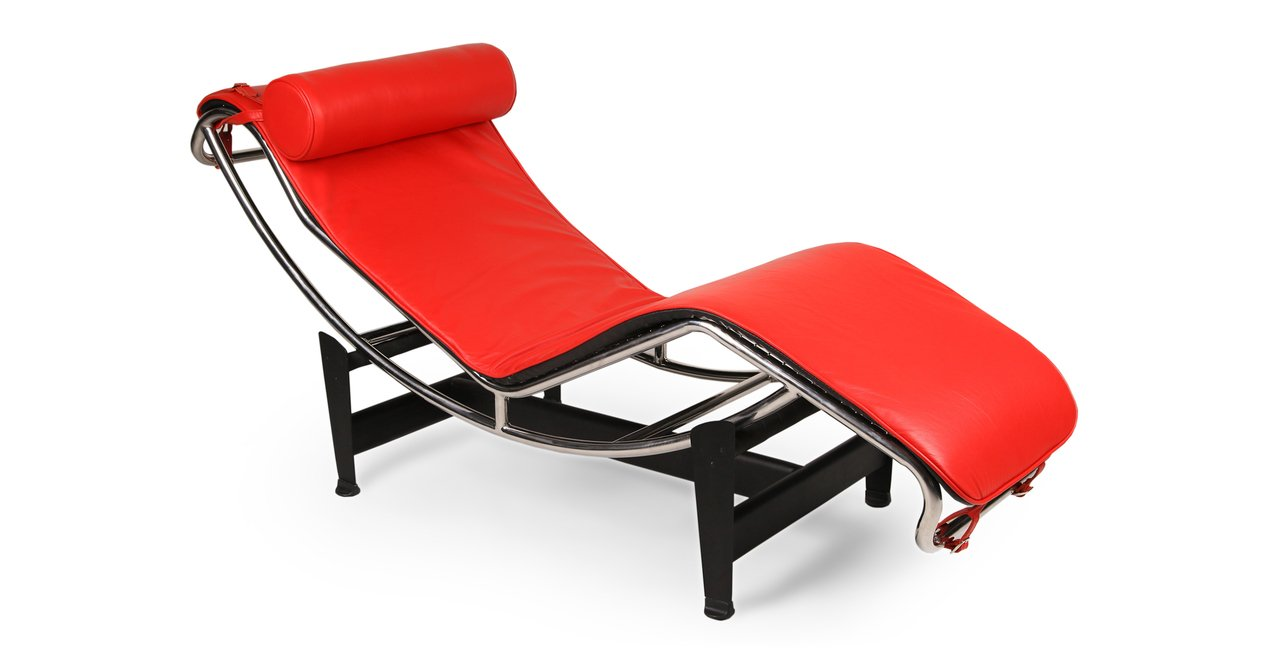 Kardiel Gravity Chaise Lounge, Red Aniline Leather