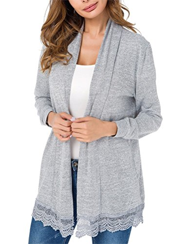 Myobe Lightweight Summer Cardigans for Women Casual Loose Lacy Patchwork Long Sleeve Open Front Grey Kimonos Cardigan Sweaters Cover up(XL, Gray)