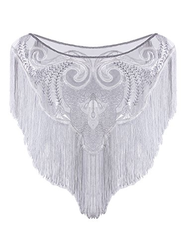 Vijiv 1920s Flapper Wedding Shawl Capelet Deco Sequin Fringe Gatsby Bolero Cape For Bridal Evening White -