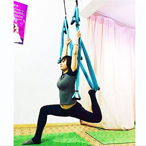 Pellor Deluxe Air Flying Yoga Hammock Aerial Yoga Hammock Belt Fitness Swing Hammock With 440Lb Load (Blue)