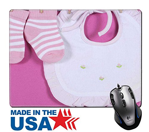 "Stripes Invitation Kit (MSD Natural Rubber Mouse Pad/Mat with Stitched Edges 9.8"" x 7.9"" Baby girl nursery cute pink and white stripe socks and bib hanging from pegs on a IMAGE 28242898 Stain Resistance Kit Kitchen Table Top)"