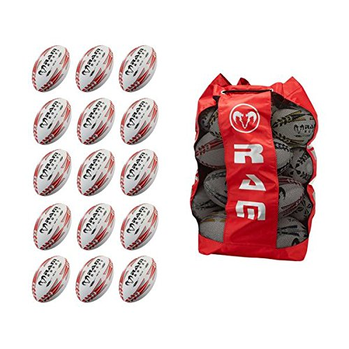 Top Rugby Ball, 15 PZ Rugby Training palle pacchetto con grosse, traspirante Ball tasche, RAM