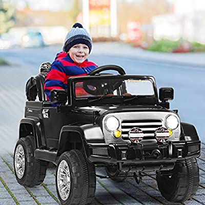 Costzon Ride On Jeep Car, 12V 2WD Powered Truck, Manual/ Parental Remote Control Modes Truck Vehicle with Headlights, MP3 Port, Music, Horn for Kids (Black Jeep): Toys & Games