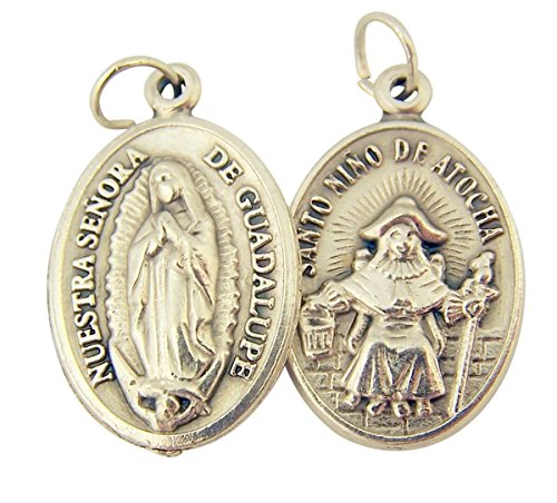 Catholic Patron Saint Medals Silver Toned Base Our Lady of Guadalupe with Nino Atocha Medal, 1 Inch, Set of 2