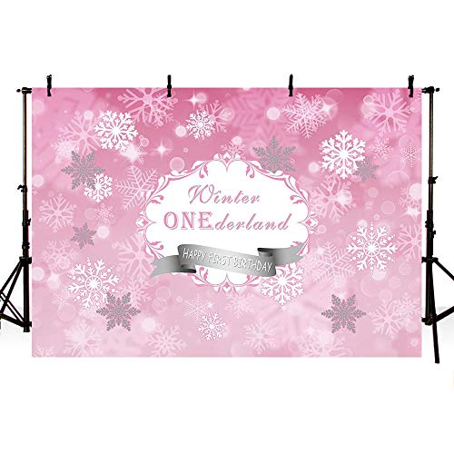 MEHOFOTO Photography Backdrops Princess Baby First Birthday Pink Winter Wonderland Snow Flower Party Decoration Photo Studio Booth Background 7X5ft