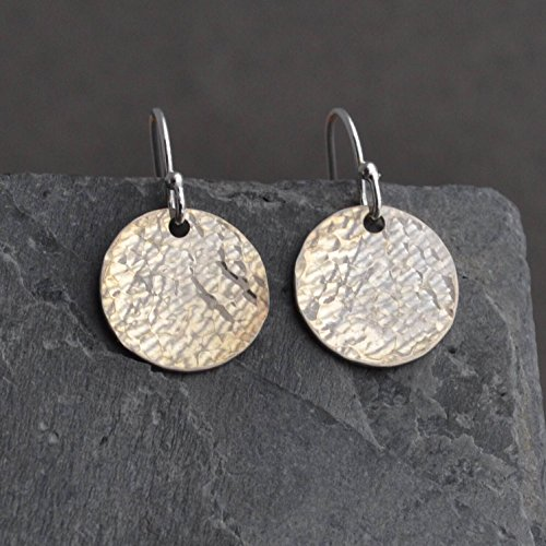 Sterling Silver Disc Earrings - Hammered Simple